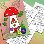 Раскраска-аппликация «Город из фигурок»
